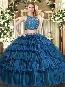 Elegant Sleeveless Tulle Floor Length Zipper Sweet 16 Dresses in Teal with Beading and Ruffled Layers