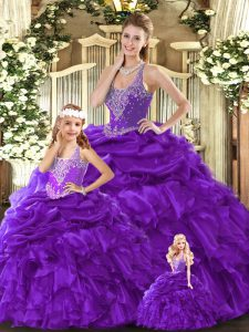 Purple Straps Lace Up Beading and Ruffles Vestidos de Quinceanera Sleeveless