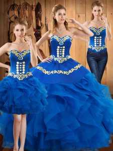 Sophisticated Sleeveless Satin and Organza Floor Length Lace Up Sweet 16 Quinceanera Dress in Blue with Embroidery and Ruffles