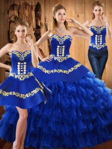 Sweetheart Sleeveless Sweet 16 Dresses Floor Length Embroidery and Ruffled Layers Blue Tulle