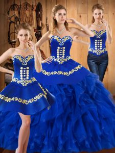 Customized Blue Satin and Organza Lace Up Sweetheart Sleeveless Floor Length Ball Gown Prom Dress Embroidery and Ruffles