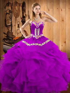 Artistic Eggplant Purple Sleeveless Floor Length Embroidery and Ruffles Lace Up Sweet 16 Dress