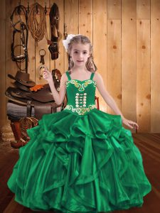 Straps Sleeveless Lace Up Kids Formal Wear Turquoise Organza