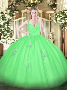Deluxe Spaghetti Straps Sleeveless Tulle Quinceanera Gowns Appliques Zipper