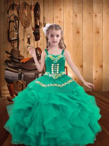 Turquoise Little Girls Pageant Dress Party and Sweet 16 and Quinceanera and Wedding Party with Embroidery and Ruffles Straps Sleeveless Lace Up