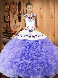 Traditional Ball Gowns Quince Ball Gowns Lavender Halter Top Fabric With Rolling Flowers Sleeveless Floor Length Lace Up