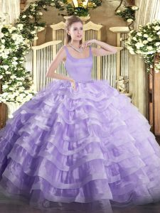 Lavender Straps Zipper Beading and Ruffled Layers Quinceanera Dress Sleeveless