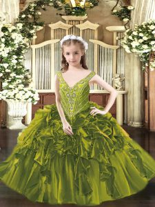 Organza Sleeveless Floor Length Pageant Gowns For Girls and Beading and Ruffles