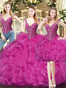 Floor Length Lace Up Quinceanera Gowns Fuchsia for Military Ball and Sweet 16 and Quinceanera with Beading and Ruffles