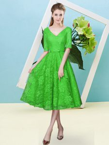 Green Empire V-neck Half Sleeves Lace Tea Length Lace Up Bowknot Quinceanera Court Dresses