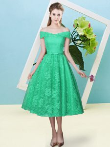 Hot Selling Turquoise Lace Lace Up Quinceanera Court Dresses Cap Sleeves Tea Length Bowknot