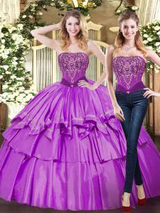 Cheap Eggplant Purple Strapless Lace Up Beading and Ruffled Layers Quinceanera Dress Sleeveless