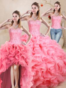 Affordable Watermelon Red Sleeveless Floor Length Beading and Ruffles Lace Up 15th Birthday Dress