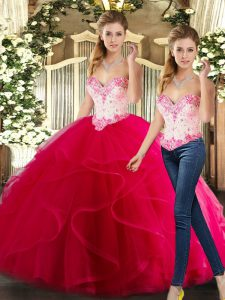 Fashionable Sweetheart Sleeveless Vestidos de Quinceanera Floor Length Beading and Ruffles Hot Pink Organza