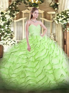 Affordable Ball Gowns Sleeveless Yellow Green Quinceanera Gown Brush Train Lace Up