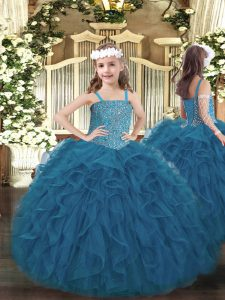 Enchanting Sleeveless Beading and Ruffles Lace Up Child Pageant Dress