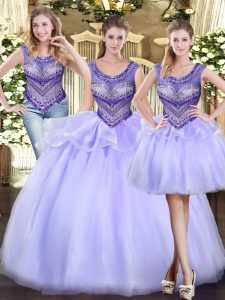 Custom Designed Scoop Sleeveless Lace Up Quinceanera Gowns Lavender Tulle
