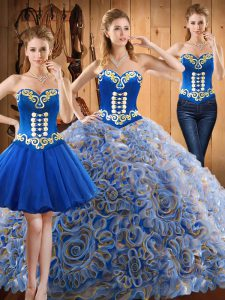 Embroidery Vestidos de Quinceanera Multi-color Lace Up Sleeveless With Train Sweep Train