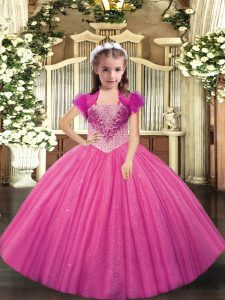Hot Pink Lace Up Straps Beading Little Girls Pageant Gowns Tulle Sleeveless