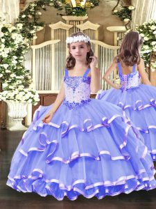 Perfect Sleeveless Floor Length Beading and Ruffled Layers Lace Up Little Girl Pageant Gowns with Lavender