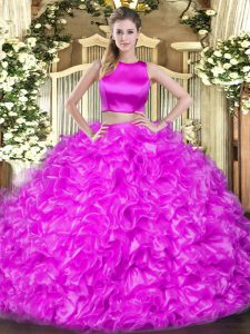 Ideal High-neck Sleeveless Tulle Sweet 16 Quinceanera Dress Ruffles Criss Cross