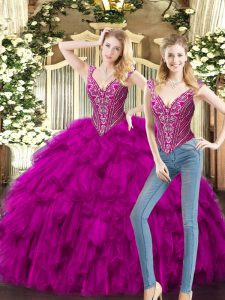 Modern Two Pieces Quince Ball Gowns Fuchsia V-neck Organza Sleeveless Floor Length Lace Up