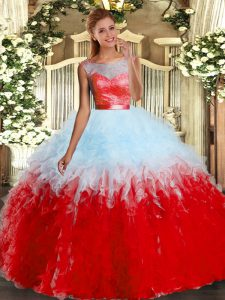 Discount Scoop Sleeveless 15 Quinceanera Dress Floor Length Lace and Ruffles Multi-color Organza