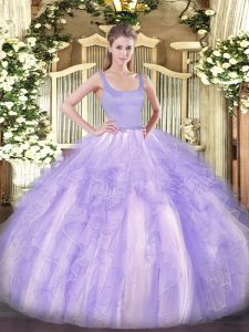 Modern Floor Length Lavender Sweet 16 Quinceanera Dress Tulle Sleeveless Beading and Ruffles