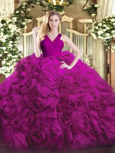 Fuchsia Zipper V-neck Ruffles Quince Ball Gowns Organza and Fabric With Rolling Flowers Sleeveless