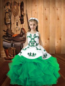 Straps Sleeveless Kids Formal Wear Floor Length Embroidery and Ruffles Turquoise Organza