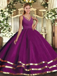 Cute Purple Sleeveless Floor Length Ruffled Layers Backless Quince Ball Gowns