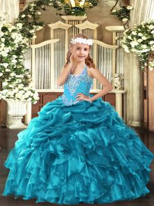 Low Price V-neck Sleeveless Lace Up Little Girl Pageant Gowns Teal Organza