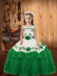 Green Ball Gowns Embroidery and Ruffled Layers Pageant Dress Womens Lace Up Organza Sleeveless Floor Length