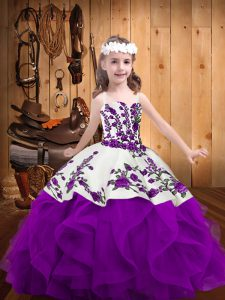 Gorgeous Sleeveless Lace Up Floor Length Embroidery and Ruffles Pageant Gowns For Girls
