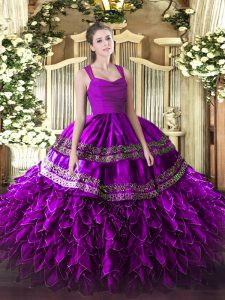 Custom Made Appliques and Ruffles Quinceanera Gowns Purple Zipper Sleeveless Floor Length