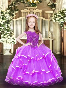 Custom Designed Lavender Organza Zipper Child Pageant Dress Sleeveless Floor Length Beading and Ruffled Layers