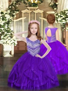 Scoop Sleeveless Lace Up Pageant Gowns Purple Tulle