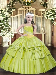 Straps Sleeveless Child Pageant Dress Floor Length Beading and Ruffled Layers Yellow Green Organza