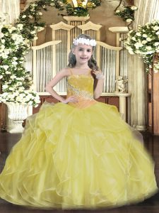 Hot Sale Sleeveless Beading and Ruffles Lace Up Kids Pageant Dress