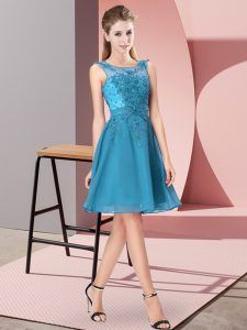 Clearance Teal Scoop Zipper Appliques Dama Dress for Quinceanera Sleeveless