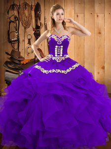 Classical Purple Sleeveless Satin and Organza Lace Up Sweet 16 Quinceanera Dress for Military Ball and Sweet 16 and Quinceanera