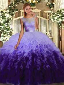 Fantastic Multi-color Ball Gowns Ruffles Quince Ball Gowns Backless Organza Sleeveless Floor Length