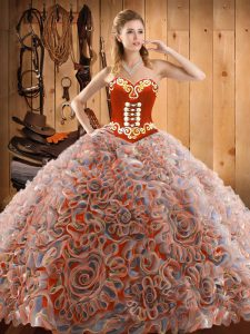 With Train Lace Up Vestidos de Quinceanera Multi-color for Military Ball and Sweet 16 and Quinceanera with Embroidery Sweep Train