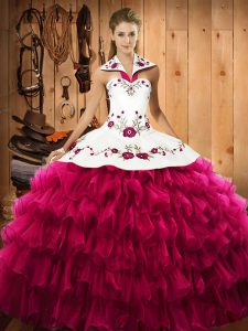 Elegant Halter Top Sleeveless Quince Ball Gowns Floor Length Embroidery and Ruffled Layers Fuchsia Satin and Organza