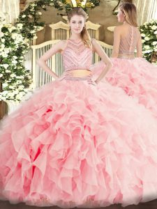 Sleeveless Tulle Floor Length Zipper Quince Ball Gowns in Baby Pink with Beading and Ruffles