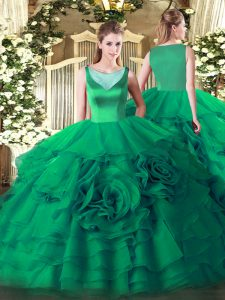 Discount Sleeveless Beading and Ruffled Layers Side Zipper Quinceanera Gowns