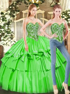 Sleeveless Floor Length Ruffled Layers Lace Up Quinceanera Gowns