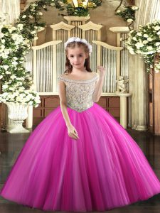 Glorious Off The Shoulder Sleeveless Tulle Little Girls Pageant Dress Beading Lace Up