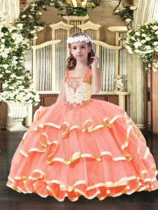 Floor Length Ball Gowns Sleeveless Orange Red Kids Pageant Dress Lace Up