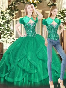Green Sweetheart Neckline Beading and Ruffles Quinceanera Dress Sleeveless Lace Up